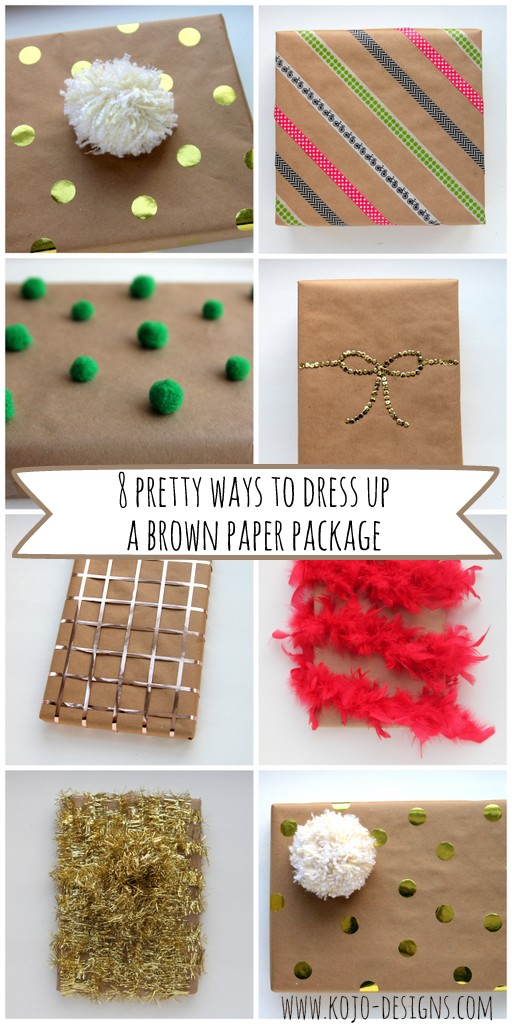 creative gift wrap ideas- 8 ways to dress up a brown paper package