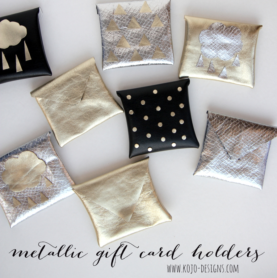 metallic gift card holder