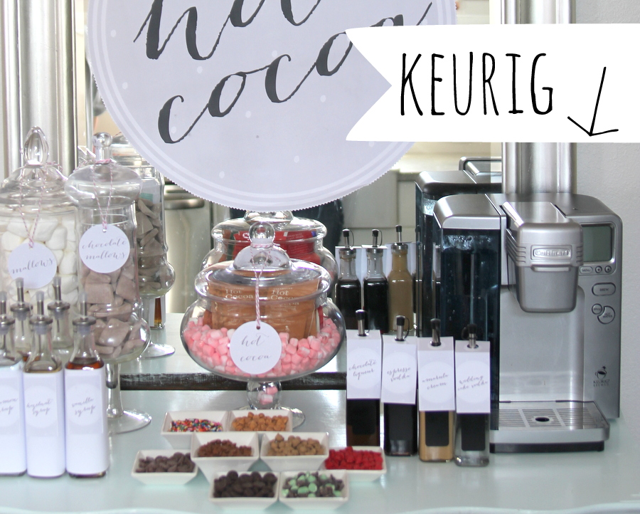 hot cocoa bar tip- for easy access to hot water, add a keurig/single cup brewer (and directions for use) to your hot chocolate serving area