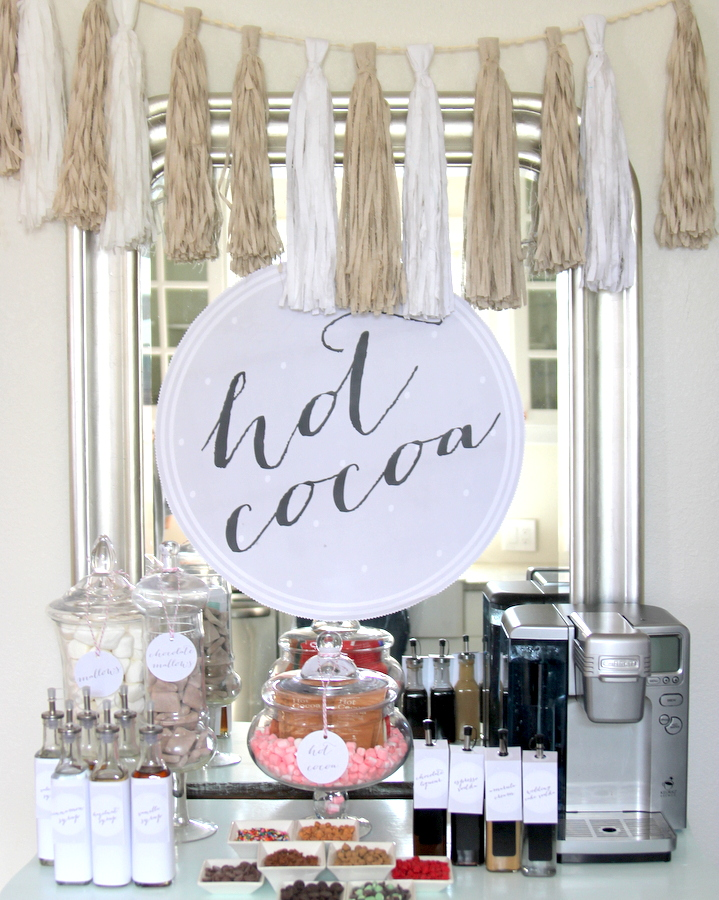 hot chocolate bar- the coziest drink station