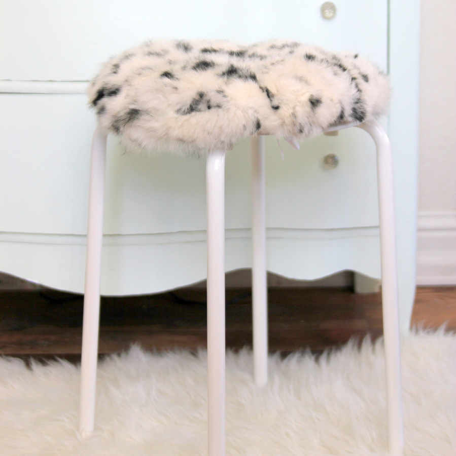 faux fur topped stool tutorial