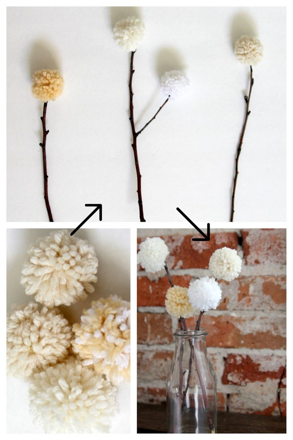 pom pom topped branches
