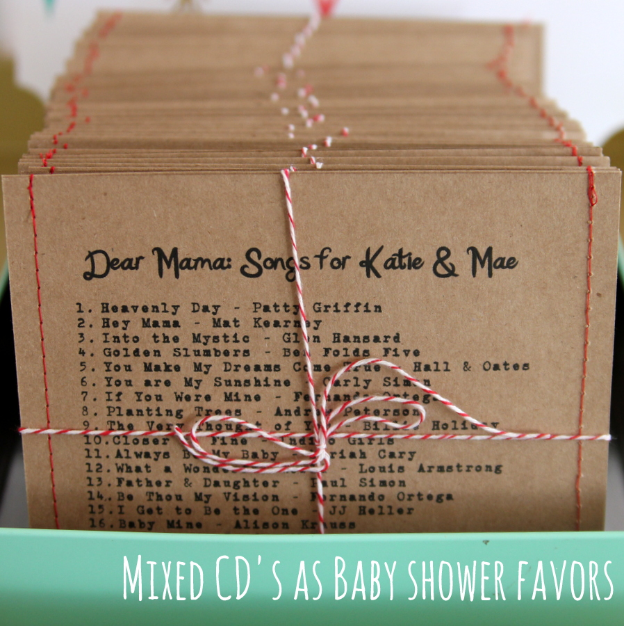 baby shower favor ideas- mama to be mixed cd's
