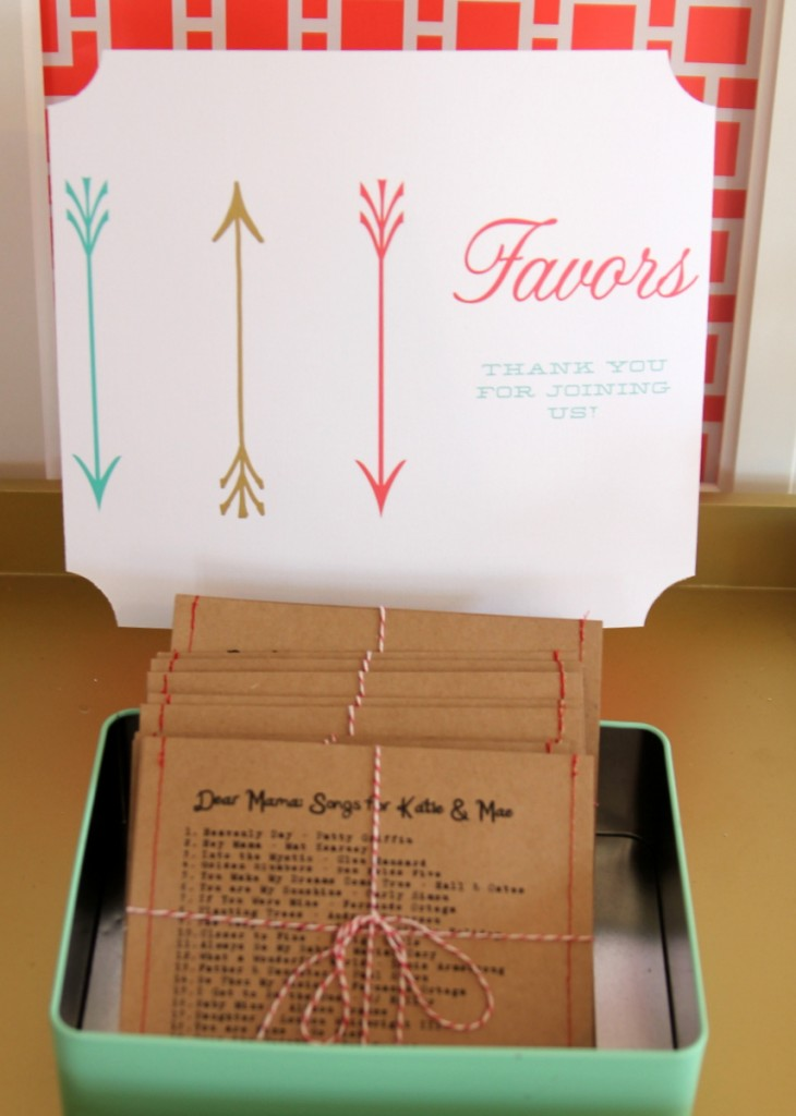 baby shower favor idea- mixed cd's