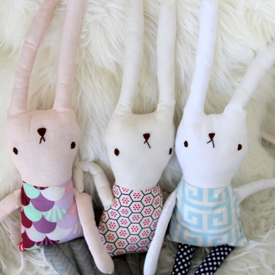 snow bunny themed first birthday party- stuffed bunny rabbits