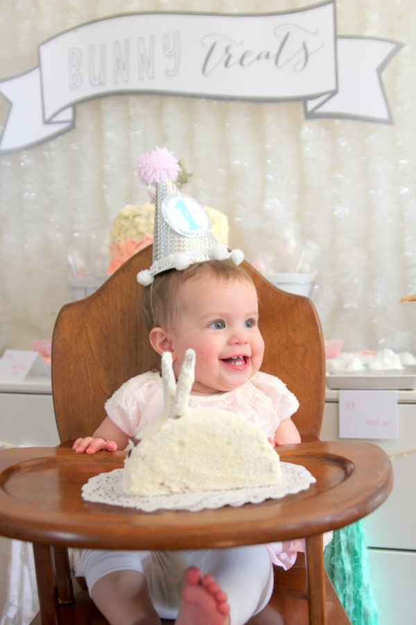 snow bunny themed first birthday party- lots of white, pink and mint details and ideas