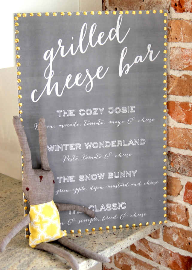 snow bunny birthday party- grilled cheese bar menu