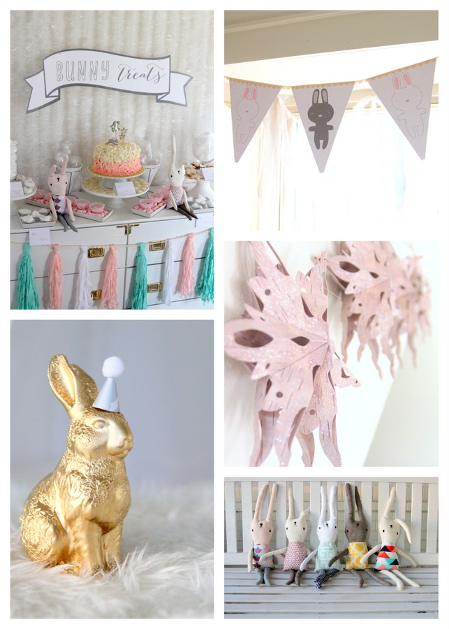 snow bunny party decor