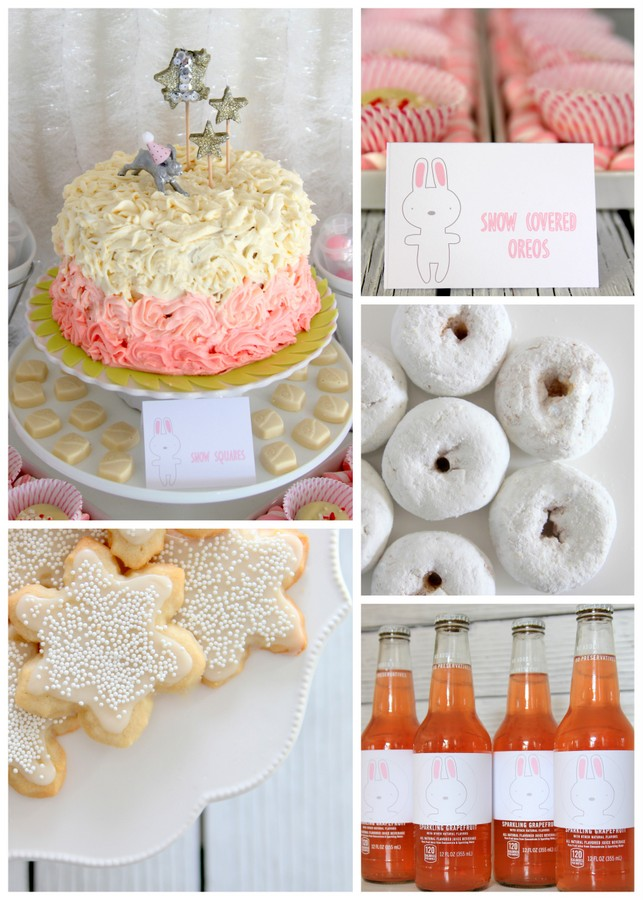 snow bunny themed first birthday party menu and treat table