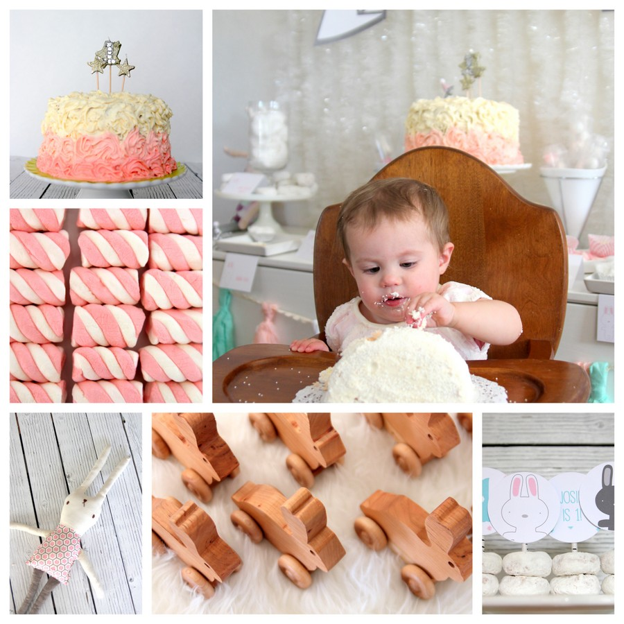 snow bunny themed first birthday party