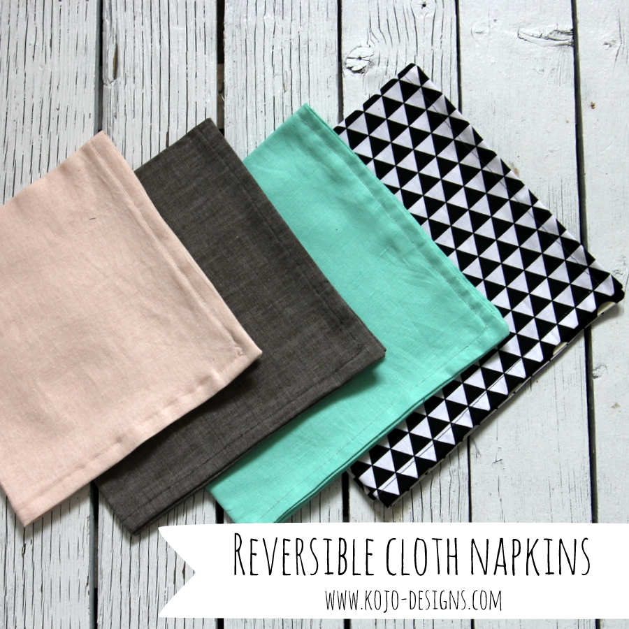 reversible cloth napkin tutorial for HomeSewn (by kojodesigns)