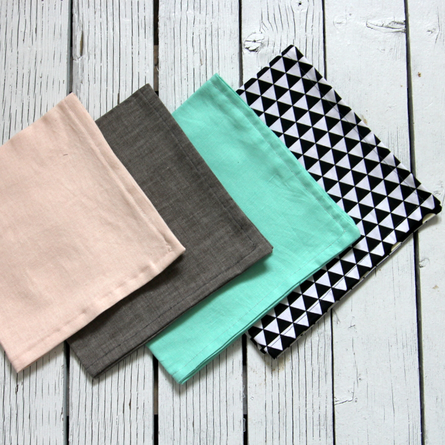 home sewn- reversible geometric cloth napkins