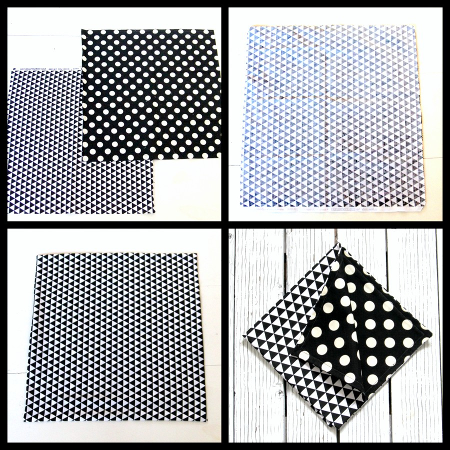 home sewn- reversible geometric cloth napkins