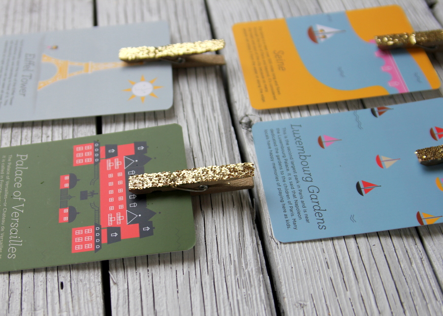 DIY glittered clothespins