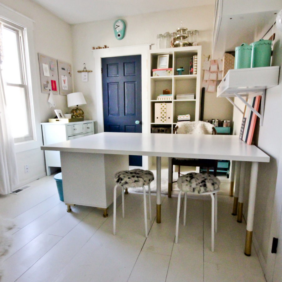 Sewing spaces craft room redo complete - Small space sewing area style ...