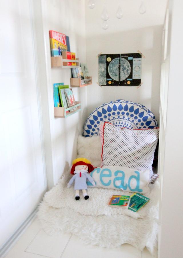 cozy reading nook in a kid's room