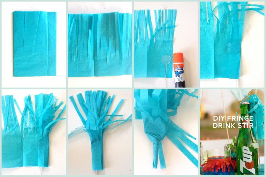 how to make fringed drink stirrers