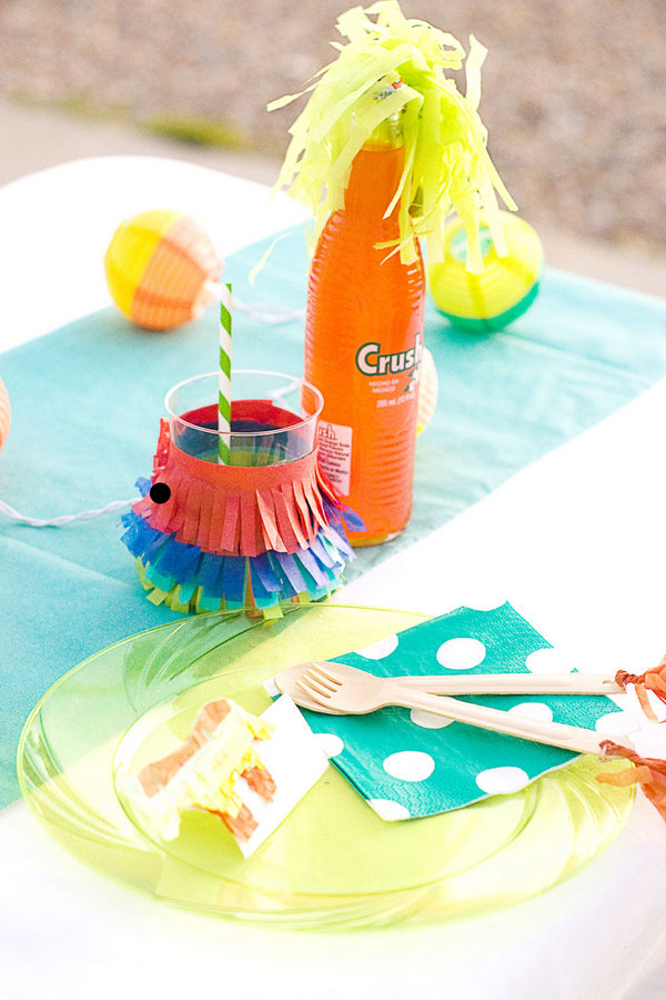 DIY fringed drink stirrers