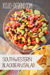 southwestern salad with black beans, corn and avocado
