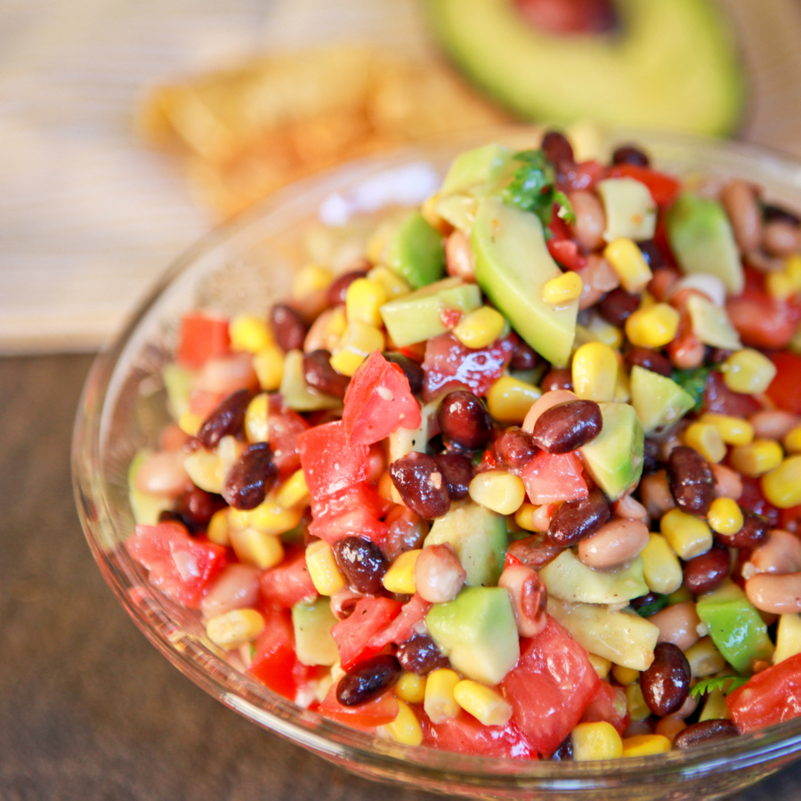 southwestern blackbean salad with avocado and lime