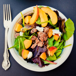 super salads- peach pecan & goat cheese salad
