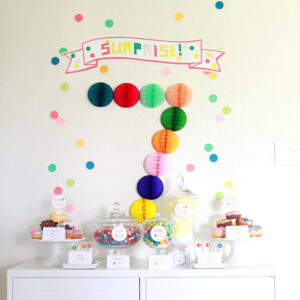 confetti filled surprise birthday party