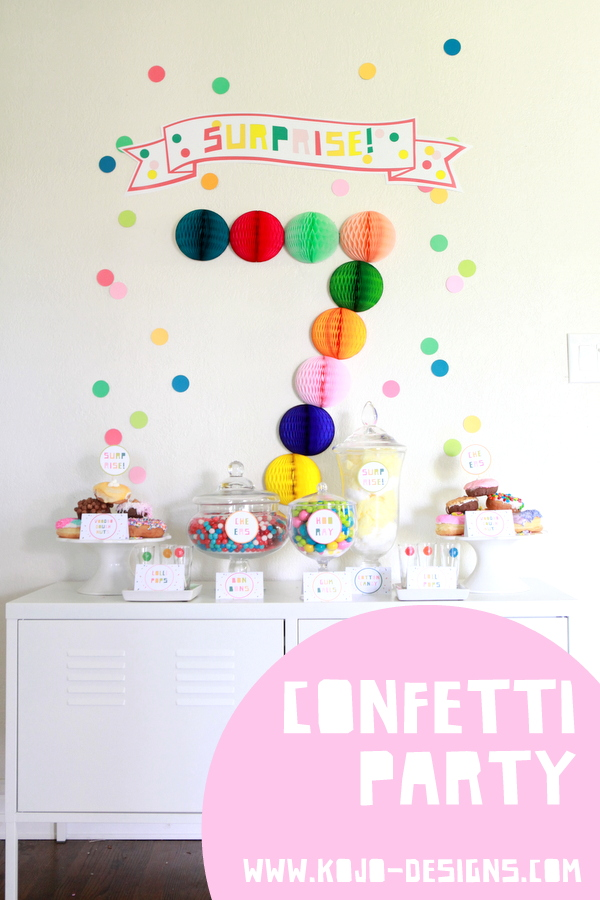 confetti themed surprise party