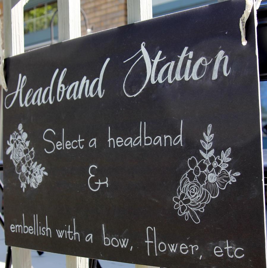 girly baby shower headband station