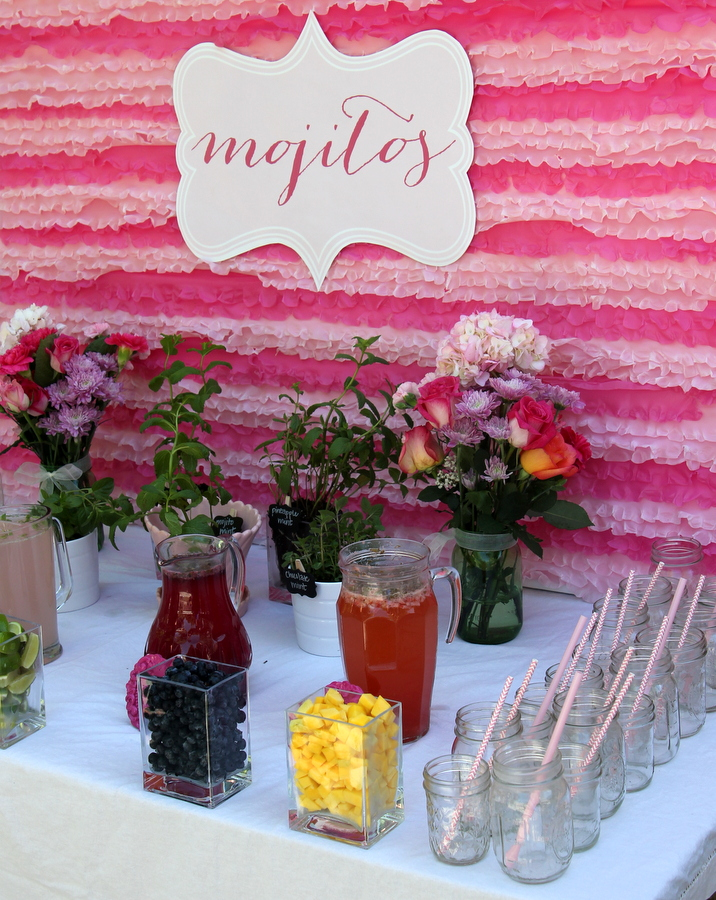 girly pink baby shower mojito station