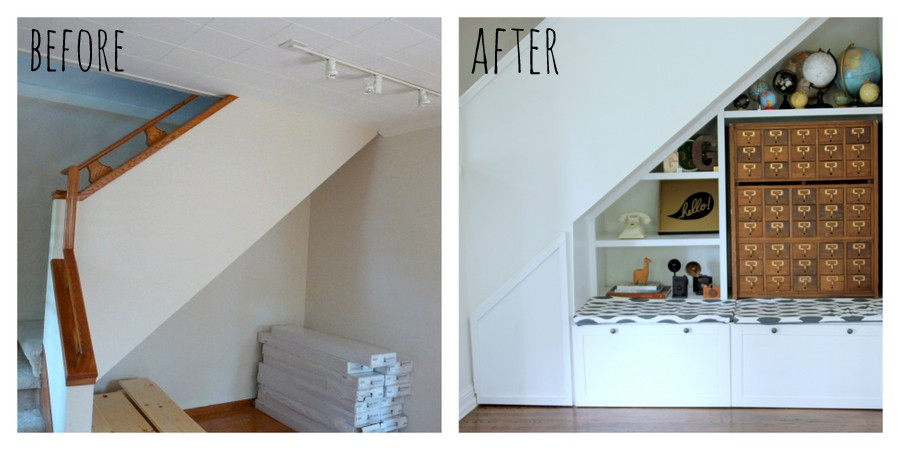 under the stair nook- before and after