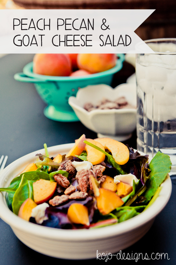 peach, pecan & goat cheese salad