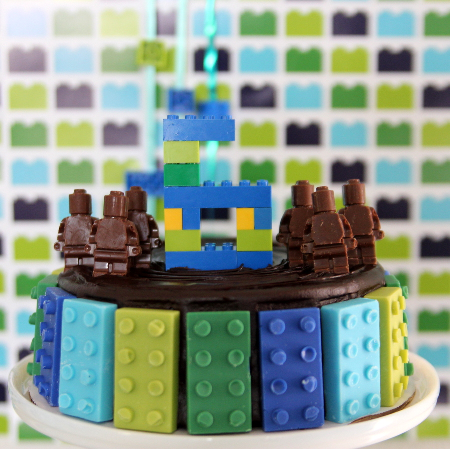 Lego birthday party- Lego cake topper made out of real Legos