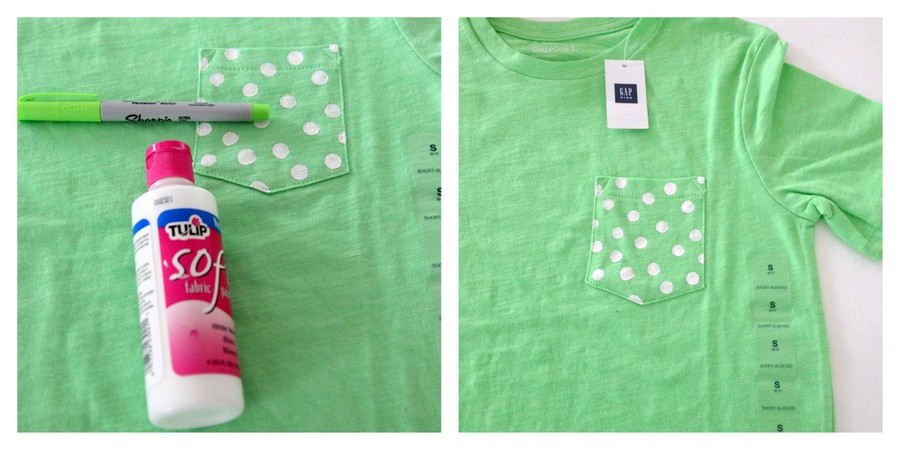 DIY polka dot pocket shirt