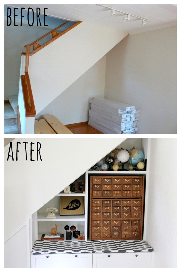 denver house tour- stair nook before and after