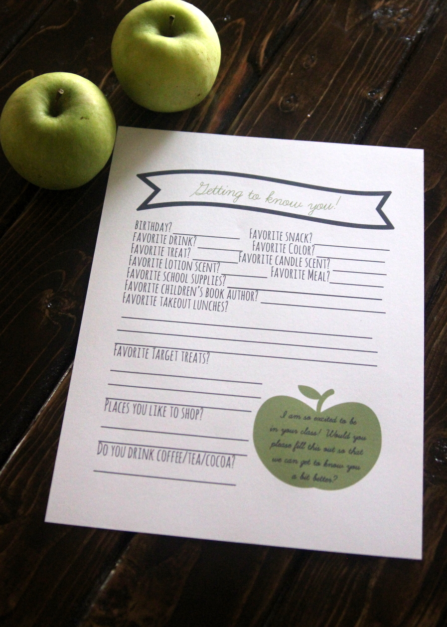 free printable teacher survey- get to know all of your kids' teacher's favorite things, restaurants, shopping places and treats with this survey!