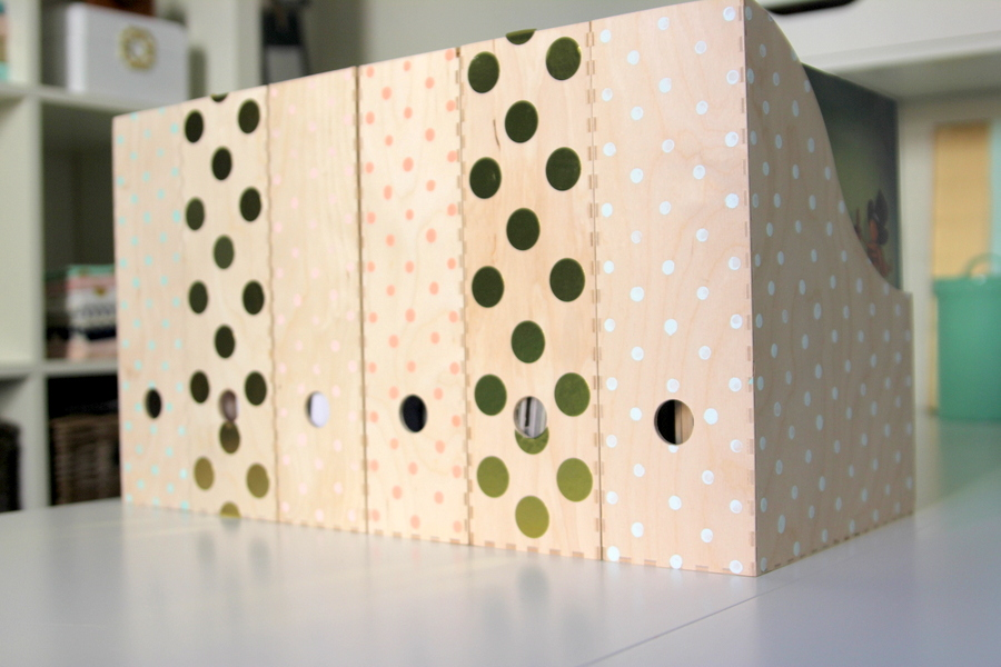 DIY polka dot magazine file folders