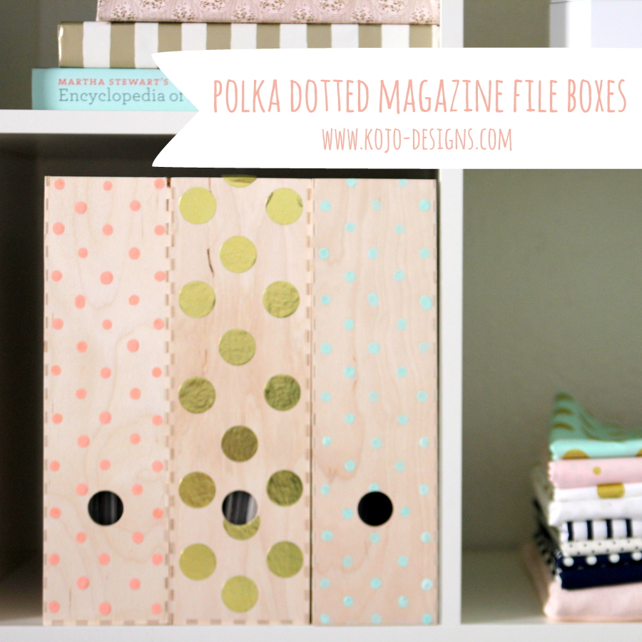 DIY polka dot magazine file boxes