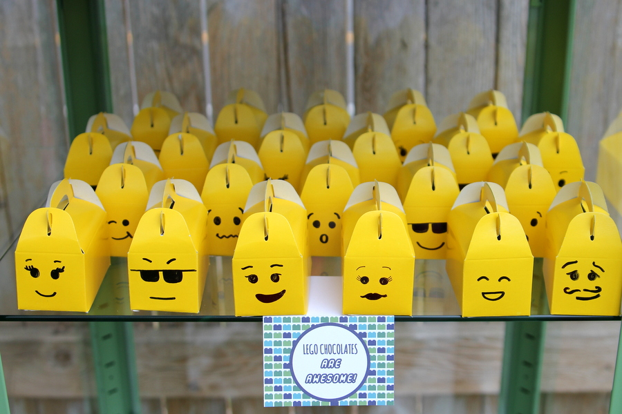 Lego birthday party favor ideas- Lego chocolates in yellow 'minifigure' boxes