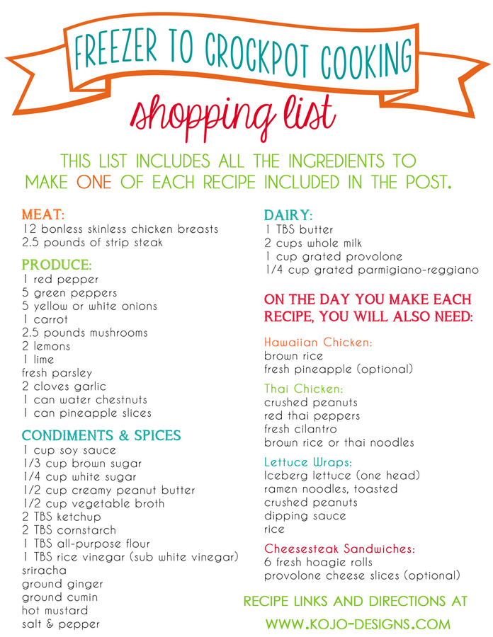 shopping list for crockpot to freezer cooking at kojo-designs
