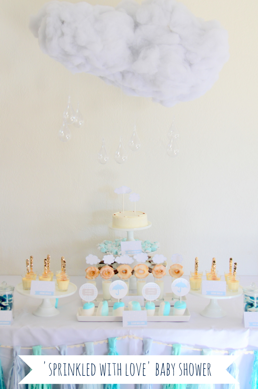 sprinkled with love baby shower (or baby 'sprinkle')- filled with clouds, umbrellas and lots of baby shower ideas