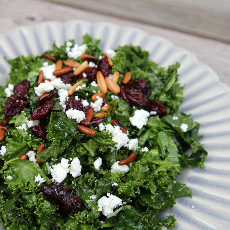 kale salad with tart cherries and pine nuts