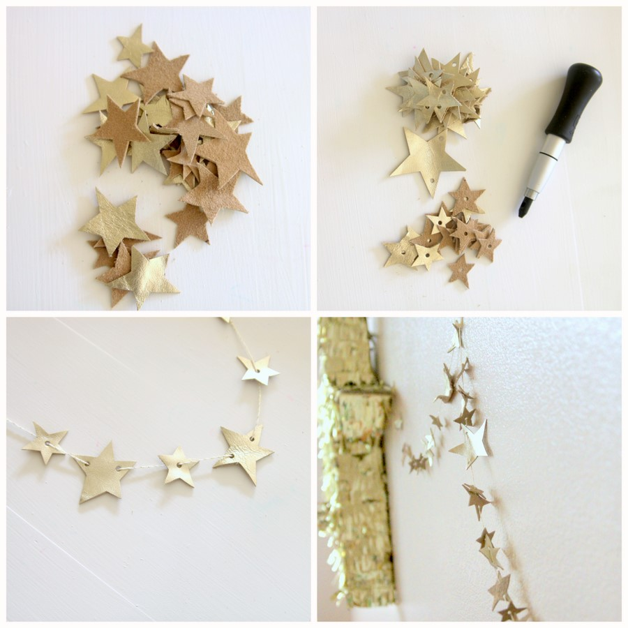 how to make a leather star garland