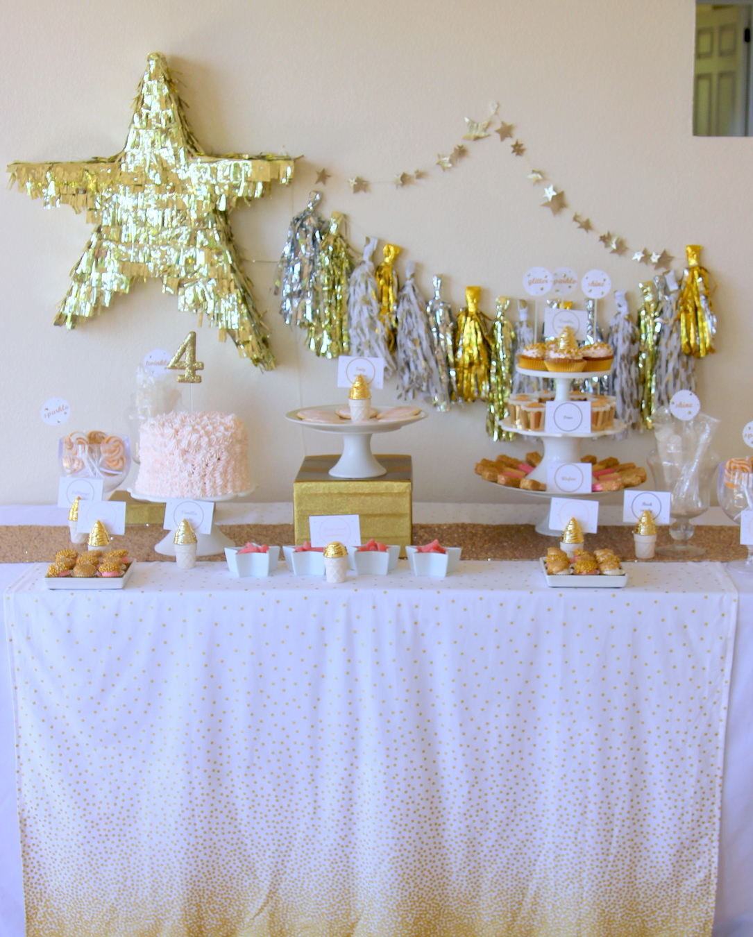 glitter party dessert table