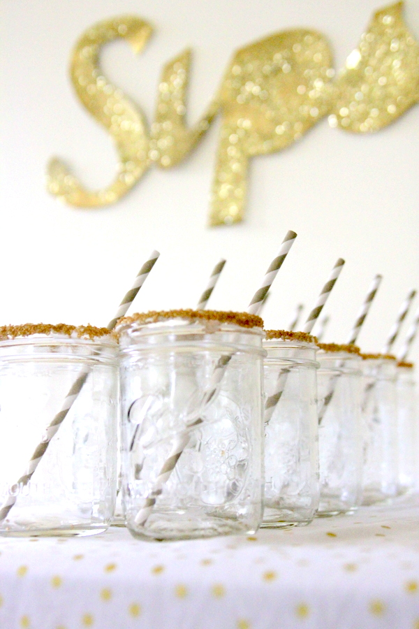 DIY metallic glitter sign, mason jars with sprinkle rims