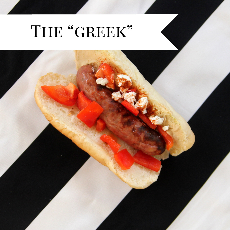 gourmet hot dogs- the greek