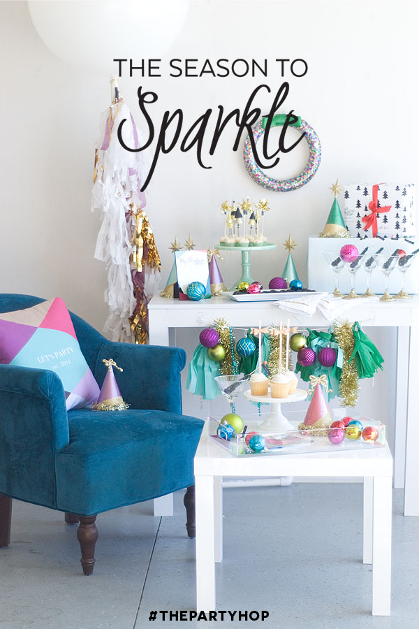 Season to sparkle party hop- this glittery party is FULL of christmas, new year's and birthday party ideas!