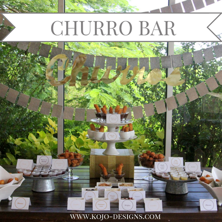 churro bar and party station- a lineup of churros, dipping sauces and toppings
