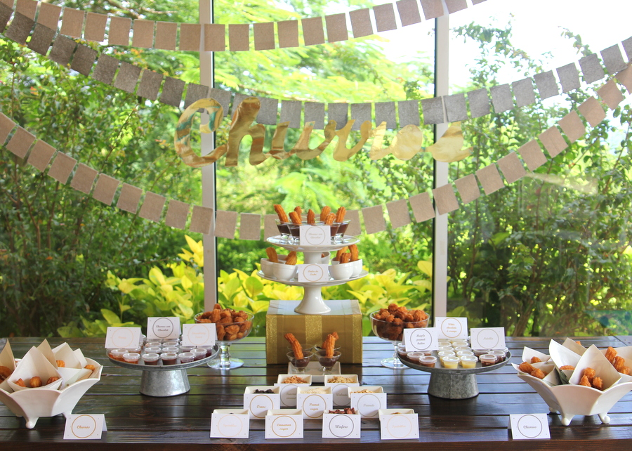 the perfect addition to your next party- a churro station, complete with dipping sauces and toppings