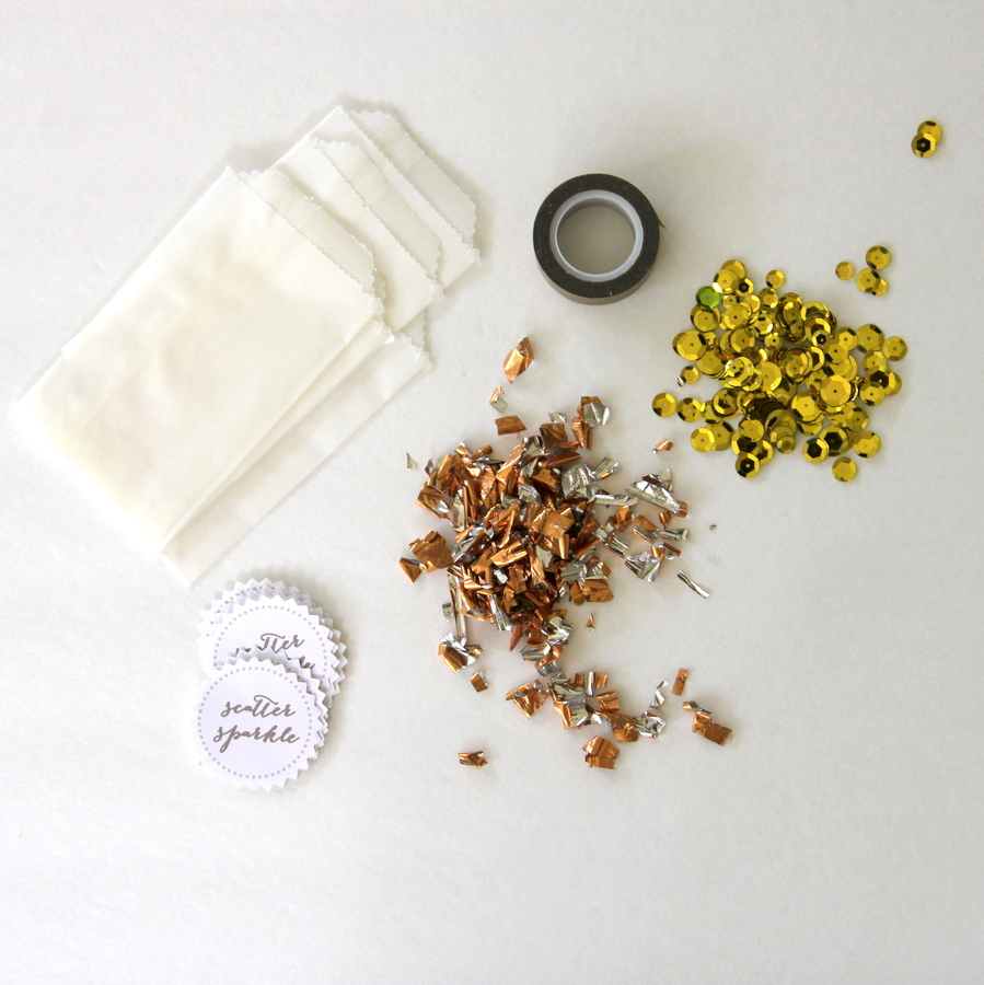 how to make glitter confetti packets (Season to Sparkle party hop)