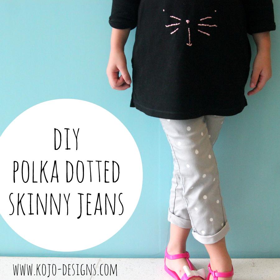 DIY polka dotted skinny jeans